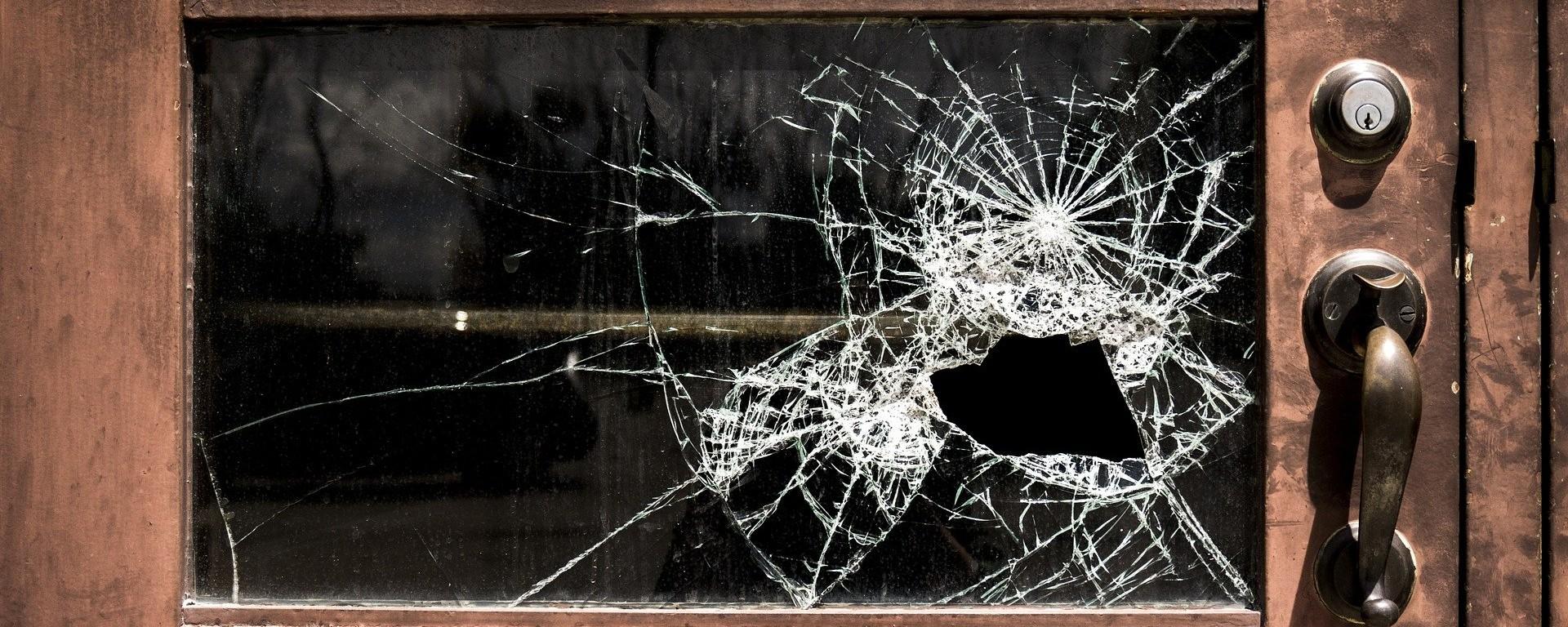Broken Glass on Front Door from Break-in