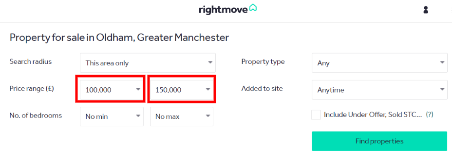 Rightmove search: properties for sale in Oldham below £150,000